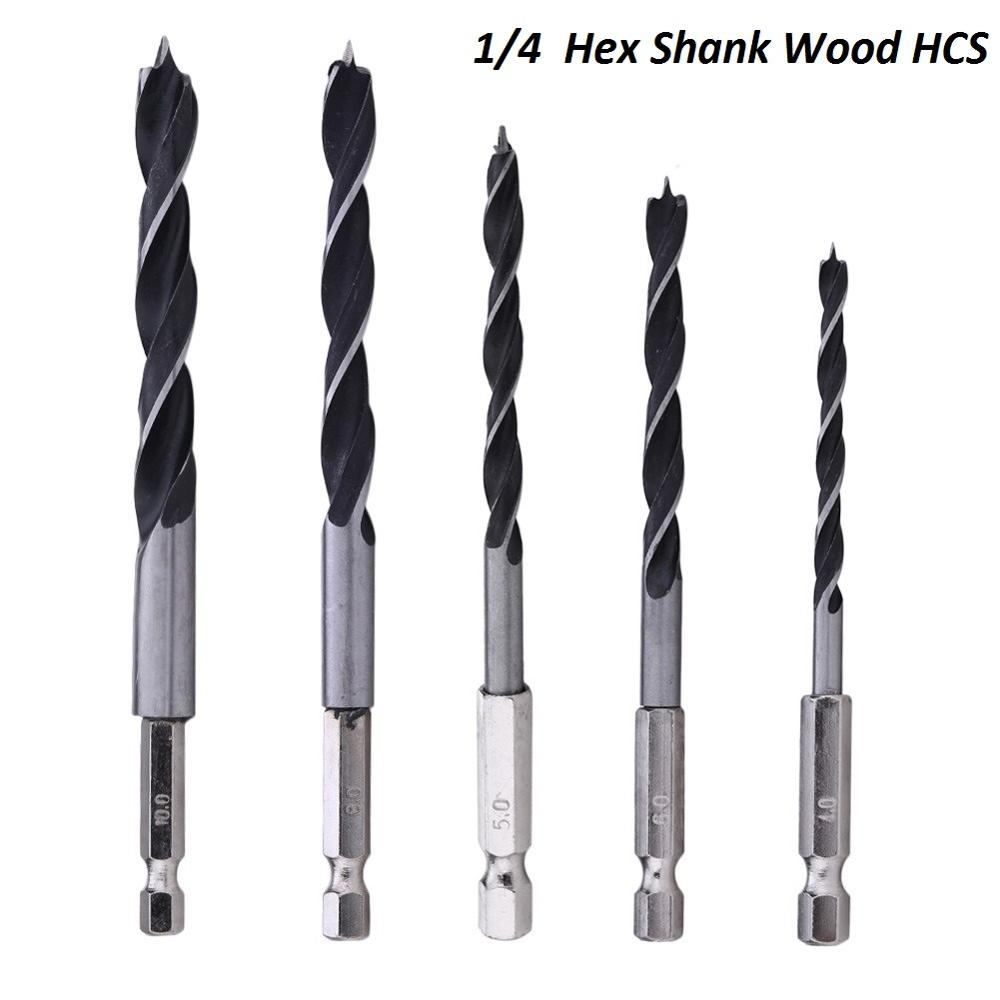 "5pcs 1/4"" Hex Shank Wood HCS Drill Bit Set Woodworking Drill Tools Hexagonal Shank 4/5/6/8/10mm Change Metal Tools Cordless"