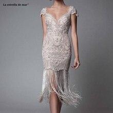 Vestido kokteyl newCocktail elbiseler lüks dantel boncuk boncuk seksi Backless kısa balo elbise örgün parti elbise