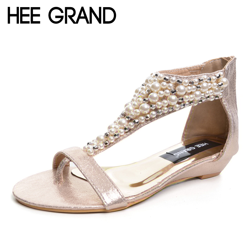 HEE GRAND Gladiator Sandals Summer Style Flip Flops Elegant Platform Shoes Woman Pearl Wedges Sandals Casual Women Shoes XWZ1937 timetang 2017 leather gladiator sandals comfort creepers platform casual shoes woman summer style mother women shoes xwd5583