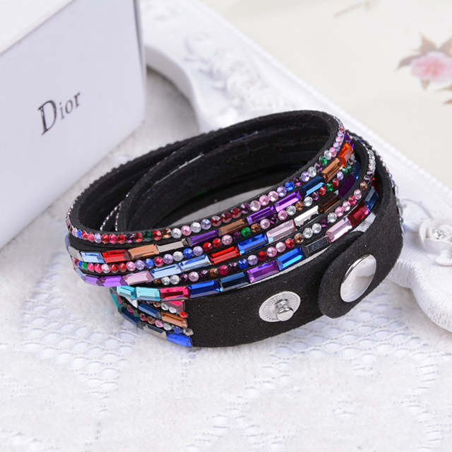Leather Bracelets with Snaps Women Jewelry 2018 Rhinestone Crystal Bracelet Whol