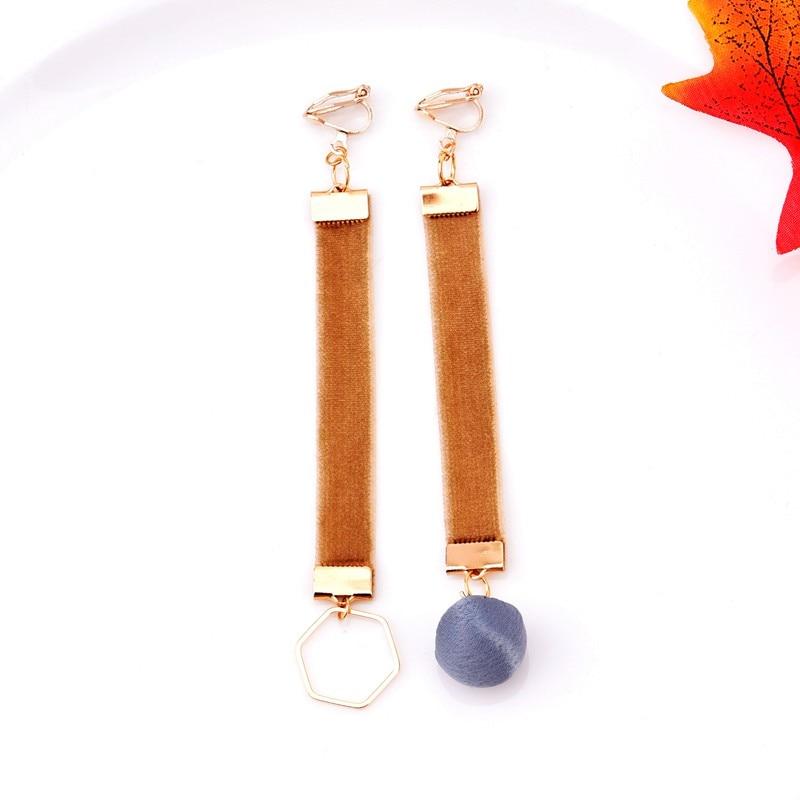 Jewelry & Accessories Earrings Retro Velvet Ribbon Metal Verge Screw No Hole Ear Clip Earrings For Women Charm Fashion Jewelry Gold Coffee Color Long Earring