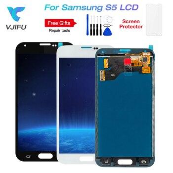 1 pièces G900f S5 affichage LCD pour SAMSUNG Galaxy S5 LCD G900M G900A G900T G900FD écran tactile numériseur avec colle de cadre