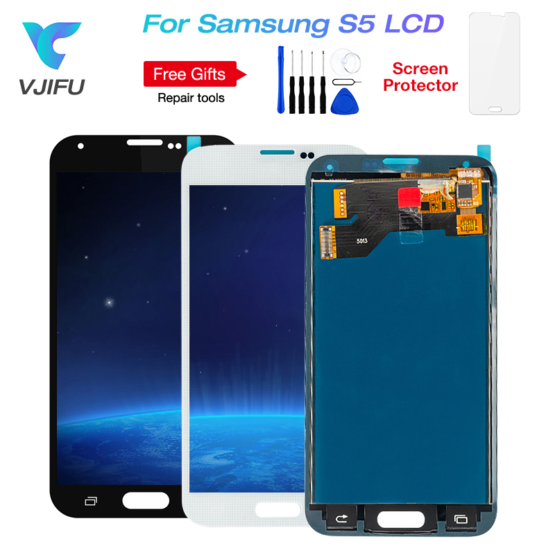 1PCS G900f S5 Display LCD For SAMSUNG Galaxy S5 LCD G900M G900A G900T G900FD Display Touch Screen Digitizer With frame glue