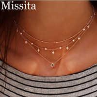 Cuteeco nouveau Boho or couleur ronde étoile collier pour femmes tour de cou minimaliste cristal perles chaîne Multi couches colliers bijoux