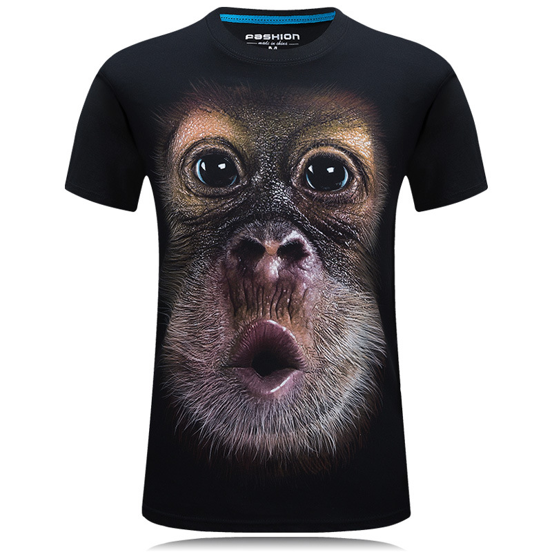 2016 summer Men's brand clothing O-Neck short sleeve animal T-shirt gas monkey/lion 3D Digital Printed T shirt Homme large size