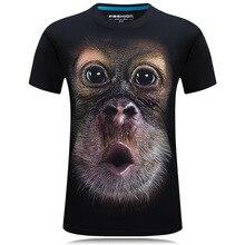 2016 summer Men's brand clothing O-Neck short sleeve animal T-shirt monkey/lion 3D Digital Printed T shirt Homme large size