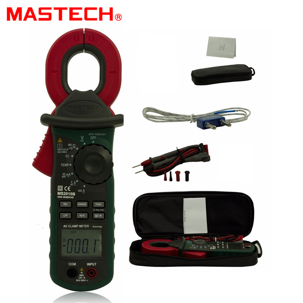 MASTECH MS2010B Digital LCD Electrical Professional Multifunction High Sensitivity Leakage Current Tester Clamp Meter DMM ms2010b digital clamp meter ac dc mini handheld voltage current resistance tester sensitivity digital ac leakage clamp meter