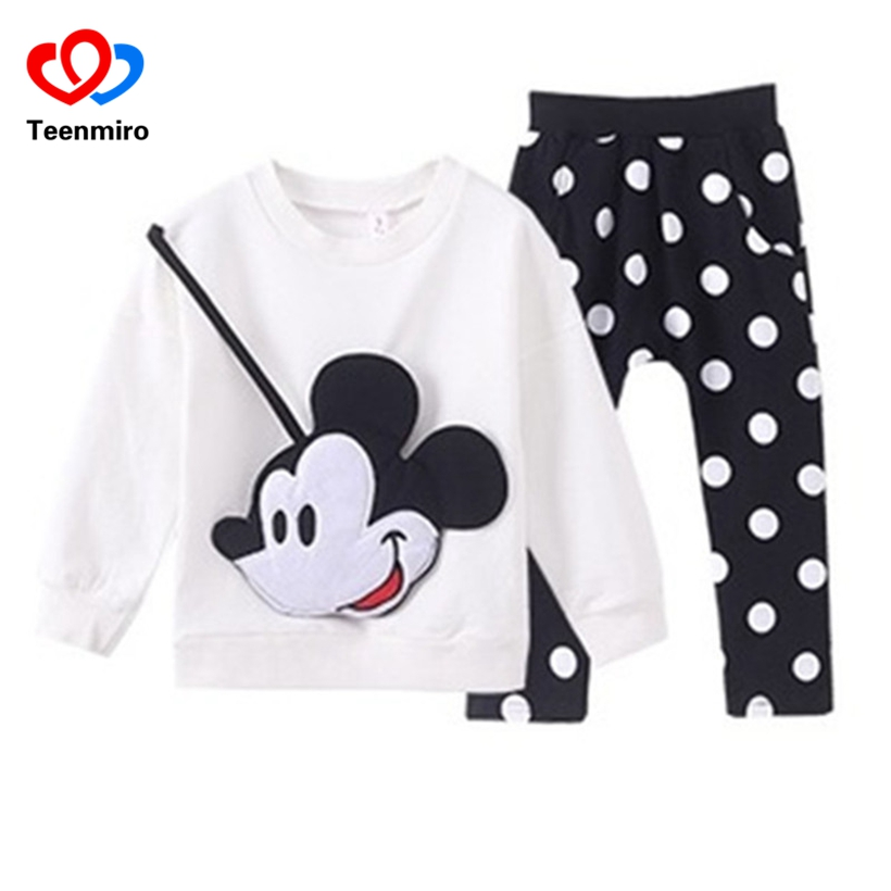 Fashion Mickey Baby Clothing Set Girls Boys Minnie Clothes Sets Kids Cotton Pullover Tshirt+Leggings Children Sports Suits 2pcs