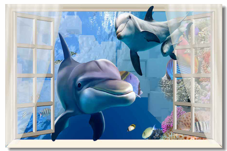 Custom Canvas Wall Decals Undersea Dolphins Poster Goose Wall Sticker Office Mural Window Frame Wallpaper Home Decoration #0186#