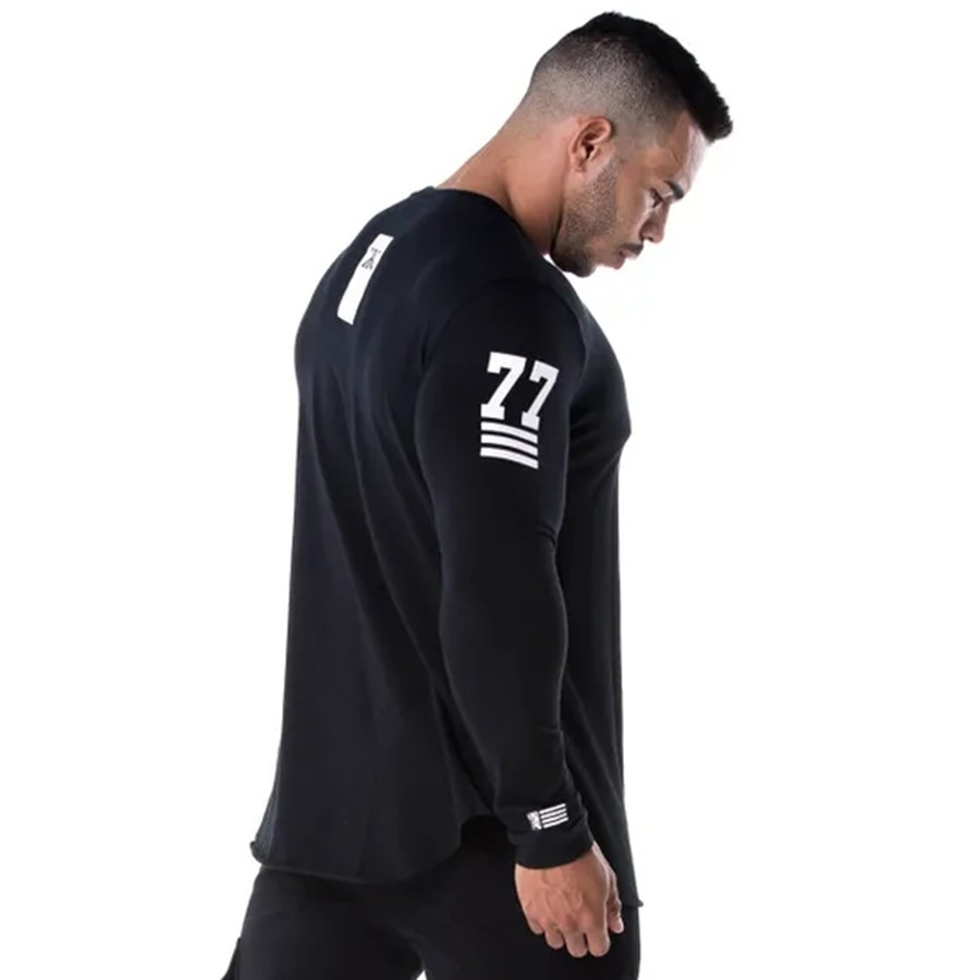 Men Skinny Long sleeve Shirts Spring 2019 Casual Fashion Printed T-Shirt Male Gyms Fitness Black Tee shirt Tops Brand Clothing 1