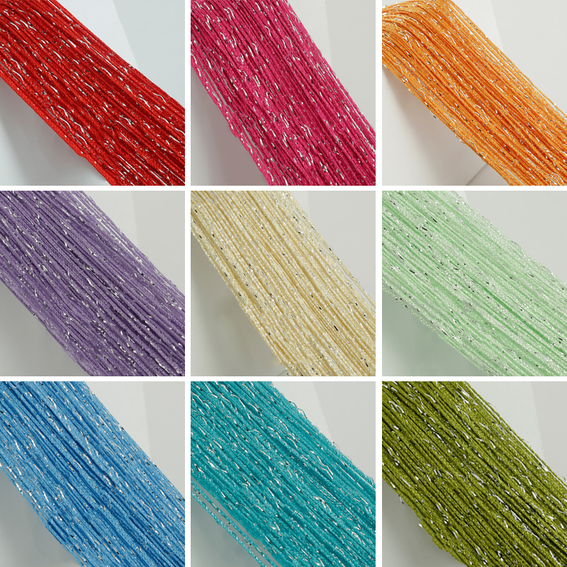 100CM X 200CM Glitter Door String Curtain Silver Ribbon Shiny Tassel Flash Line Curtain Valance For Window Room Home Decoration