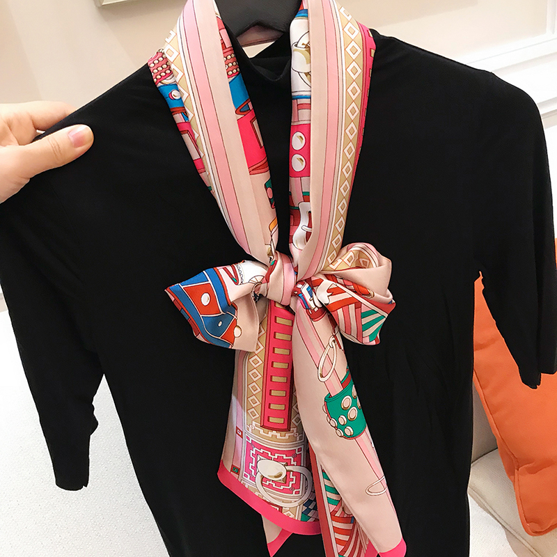 Narrow Long 100% Silk Neckerchief Women Fashion Prints Silk   Scarves     Wraps   Head Hair Accessories 180*20cm