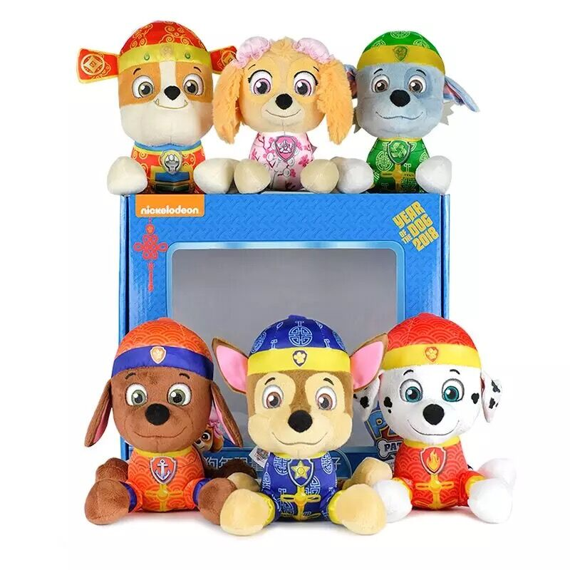 6pcs genuine paw patrol chinese tang style plush toy puppy. Black Bedroom Furniture Sets. Home Design Ideas
