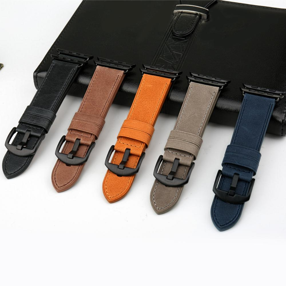 MAIKES Genuine Leather For Apple Watch Strap 44mm 40mm & Apple Watch Band 38mm 42mm Watchbands iwatch Series 4 3 2 1 Bracelet