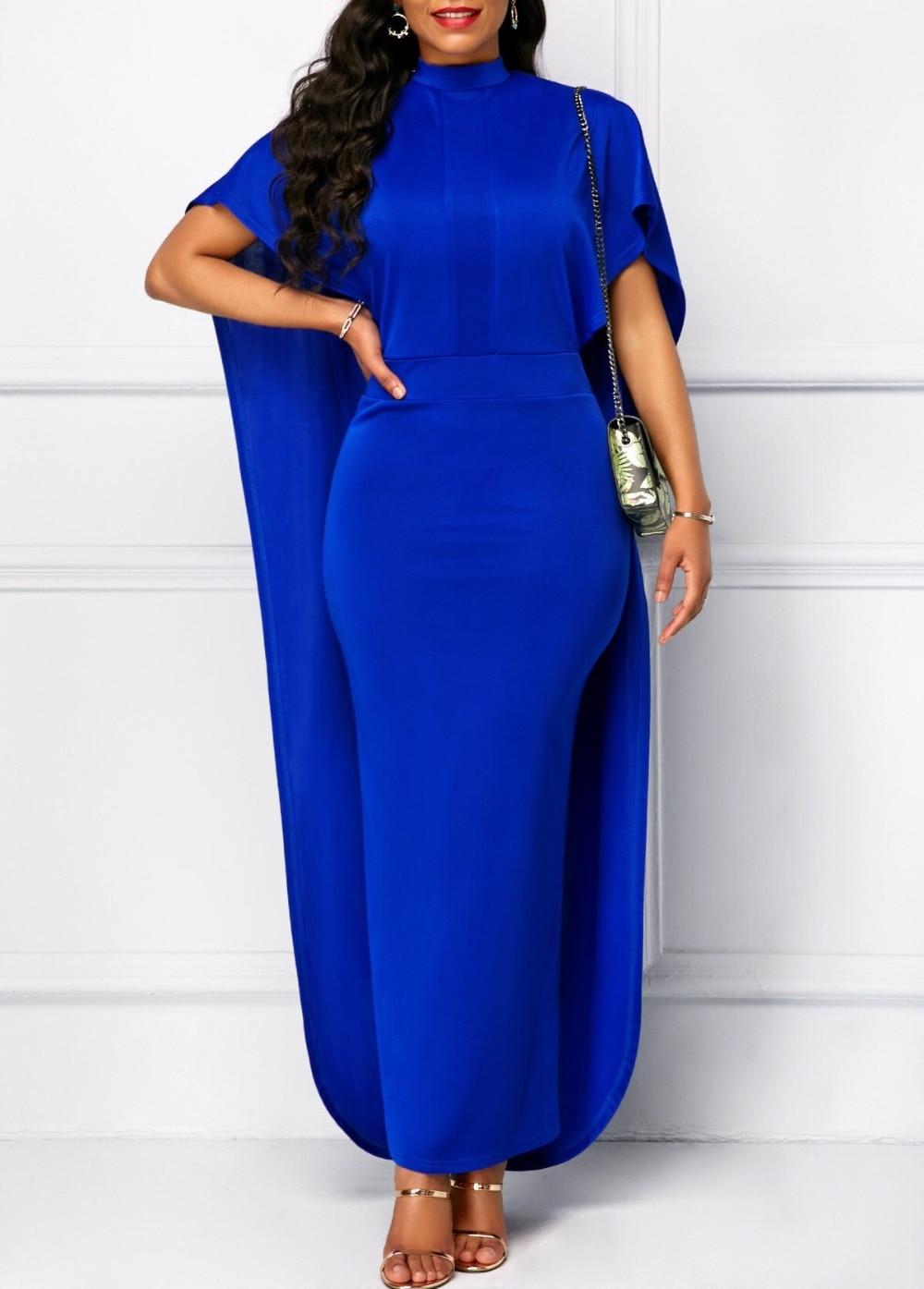 High Neck Short Sleeves   Prom     Dresses   Long Evening   Dress   2019