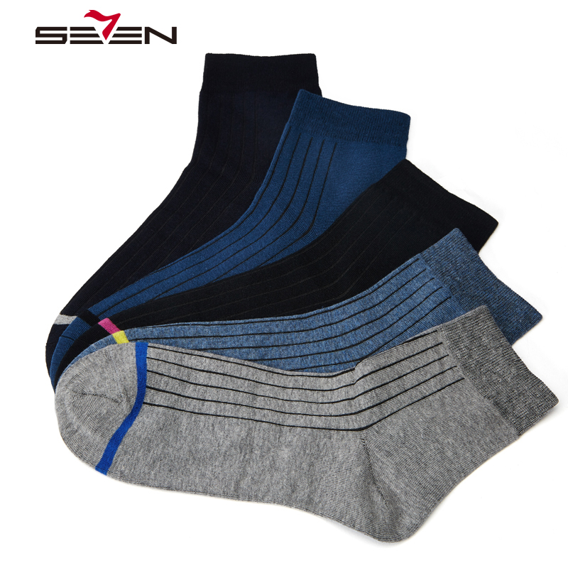 Seven7 Brand Mens Crew Socks Print Striped Fashion Men Cotton Casual Breathable Funny Male Socks 5 Pairs/Lot Whoelsale 114F00040