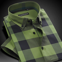 Men S Short Sleeve Contrast Bold Plaid Checkered Dress Shirt Comfortable Cotton Thin Smart Casual Slim