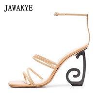 JAWAKYE странно стиль пятки Римские сандалии Для женщин телесного цвета тонкая полоска пикантные летние туфли на высоком каблуке с ремешком на