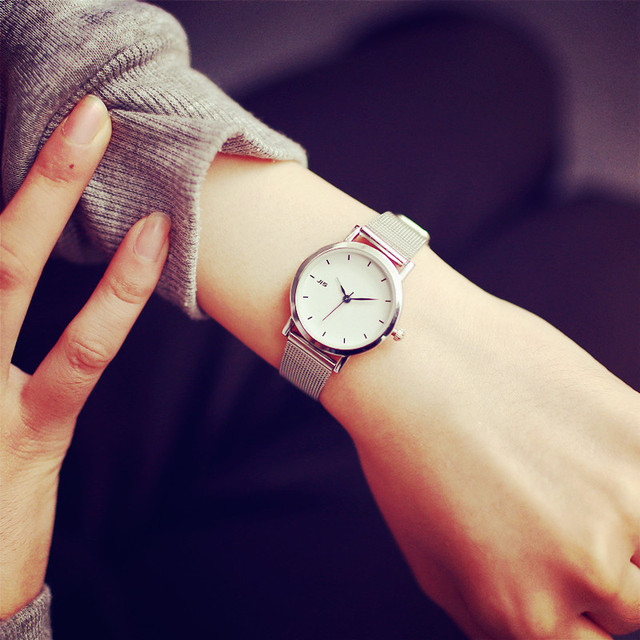 Simple silver watches women blue pointer stainless steel mesh strap fashion casu