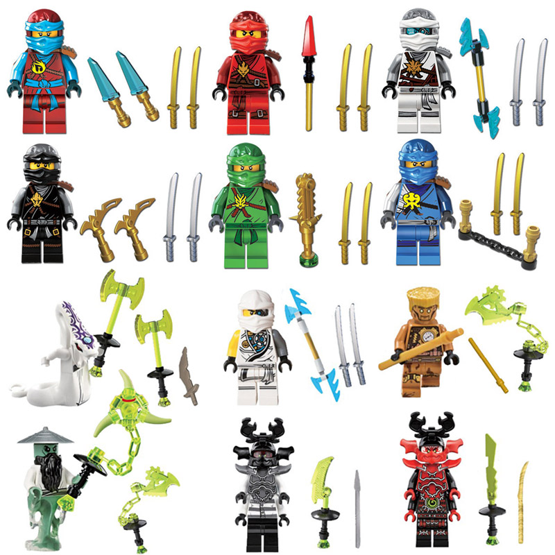 2018 12pcs Ninjago Figure Zane Kai Lloyd Cole Jay Nya Pythor Master Yang Echo Zane Building Block Toy compatible with lego