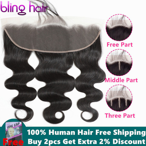 bling hair Body Wave 13*4 Lace Frontal Closure with Baby Hair Free Part 100% Indian Remy Human Hair Pre-plucked Natural Hairline Pakistan
