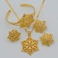Flores conjunto Joyería de Las Mujeres de oro Chapado En Oro Colgante Collar/Los Pendientes/Anillo/Brazalete Africano/Árabe/Etíope joyería #047106
