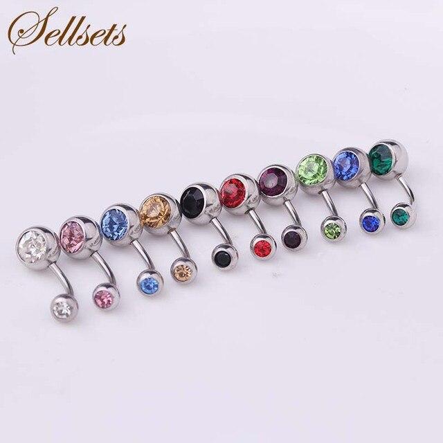 Sellsets mixte en gros 50 pcs/lot bijoux de corps en acier inoxydable Double cristal hélice nombril Piercing Ombligo nombril anneaux