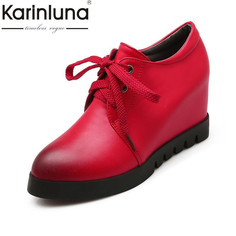 KARINLUNA Fashion large size 34-43 flat Platform pointed Toe Lace Up Shoes Woman increasing Heel black red shoes Women Shoes lankarin brand 2017 summer woman pointed toe flats ladies platform fashion rivet buckle strap flat shoes woman plus size