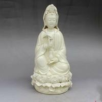 Exquisite Chinese Dehua White Porcelain Kwan yin Bodhisattva Holding Bottle Guanyin Goddess Statue