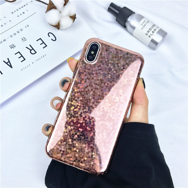 big sale f7ffa eb1a0 US $2.84 10% OFF|Shining Laser Sequins Glossy Rose gold phone Case For  iphone X Cover Cases Soft TPU plastic Cover Back For iphoneX capas-in ...