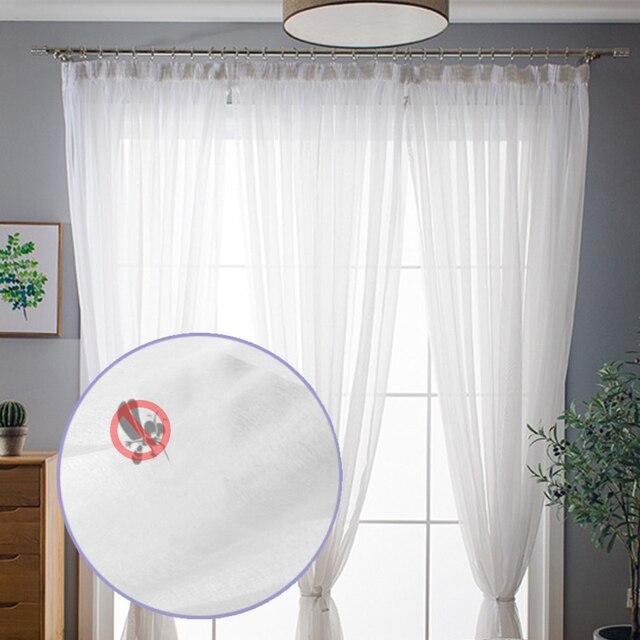 現代チュールカーテンリビングルームキッチン白の寝室のカーテン薄手のカーテン窓子供ロマンチックなボイルブルー黒