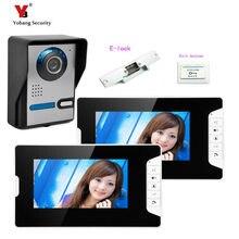Yobang Security freeship 7 inch video intercom Phone Door Bell phone Intercom System IR Night Vision Camera 1v2+Electric lock