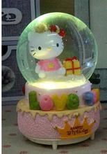Four music seven colourful lights crystal ball music box music box birthday girl children snow rotary matched hearts jarll
