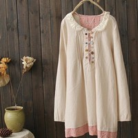 Colorful butons lce peter pan collar long sleeve cotton vintage dress
