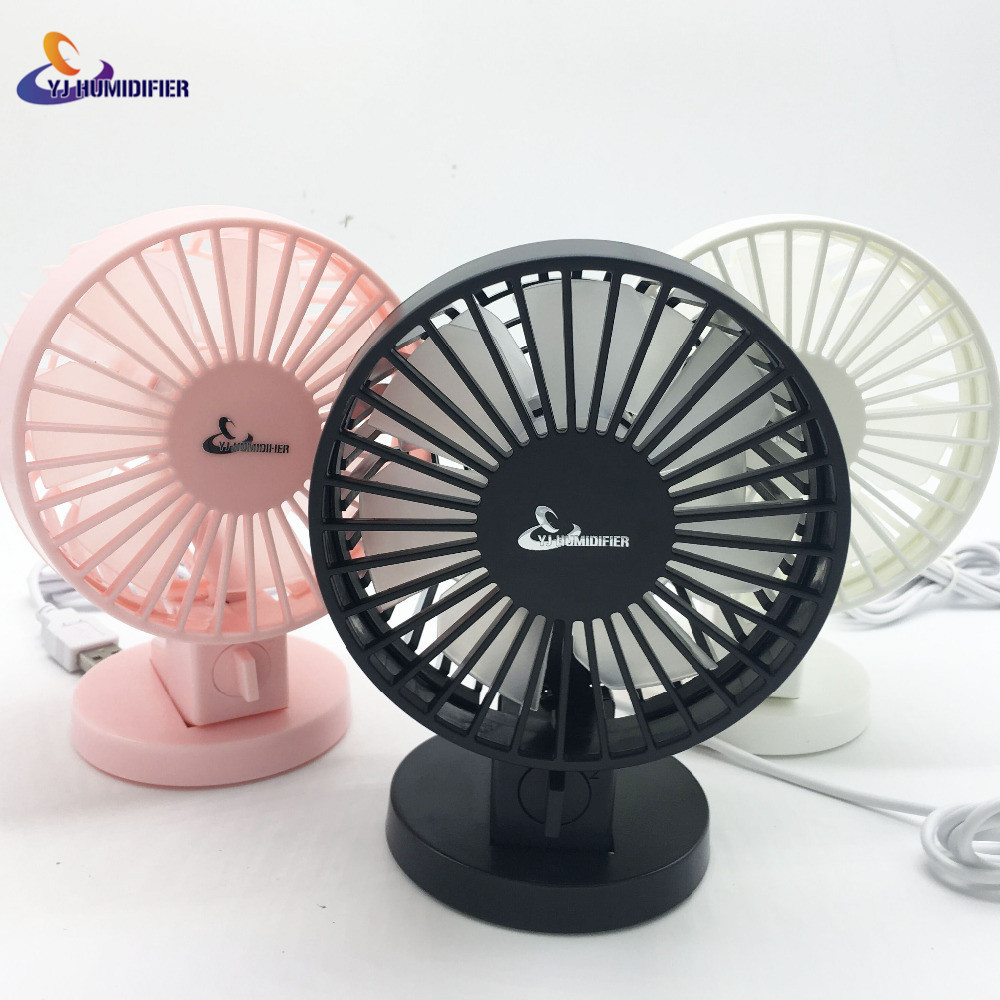 YJ HUMIDIFIER Portable Mini USB Desk Fan Creative Home Office ABS Electric Fans Silent Desktop Fan With Double Side Fan Blades handheld usb misting fan personal cooling humidifier portable mini desktop fans