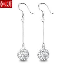 New Fashion sparkling ladies' earrings 925 pure silver earrings drop earring long design 206