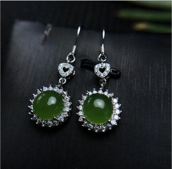 Hetian Jasper stud earring Natural Jasper Free shipping 925 sterling silver Fine gems jewelry For men or women