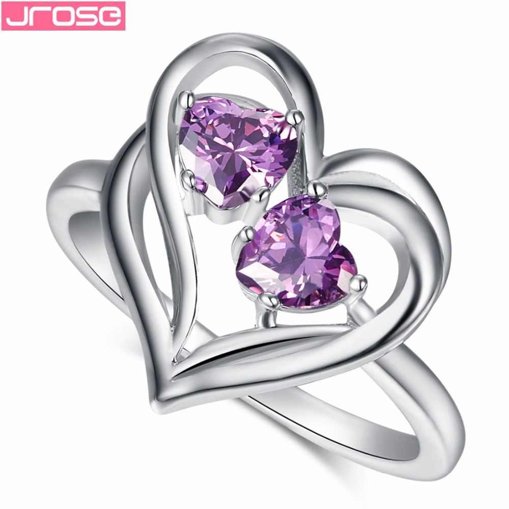 JROSE Love หัวใจขายส่งเครื่องประดับหมั้นสีชมพู & London Blue CZ สีขาวทองแหวนผู้หญิงขนาด 6 7 8 9 10 11