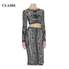 Claire 2015 Winter Leopard Print Long Sleeve Two 2 Piece Katy Perry Ladies Bodycon Party Rayon Sets Womans HL Bandage Dress 367
