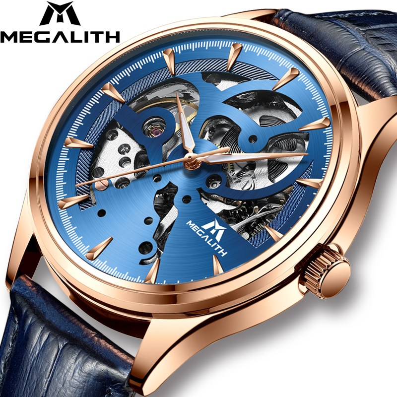 MEGALITH Fashion Luxury Watch Automatic Mechanical Watch Sport Clock Waterproof Leather Business Men Wrist Watch Relojes HombreMEGALITH Fashion Luxury Watch Automatic Mechanical Watch Sport Clock Waterproof Leather Business Men Wrist Watch Relojes Hombre