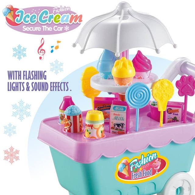 Hot Sale Sweet Children Kitchen Toys Ice cream cart Pretend Play Ice ...