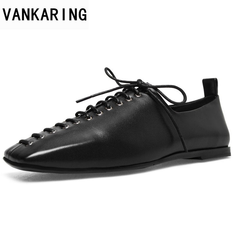 VANKARING newset spring women flats shoes genuine leather flat heels square toe black lace up shoes woman dress casual shoes qmn women genuine leather platform flats women lace cut glossy leather square toe brogue shoes woman lace up leisure shoes 34 39