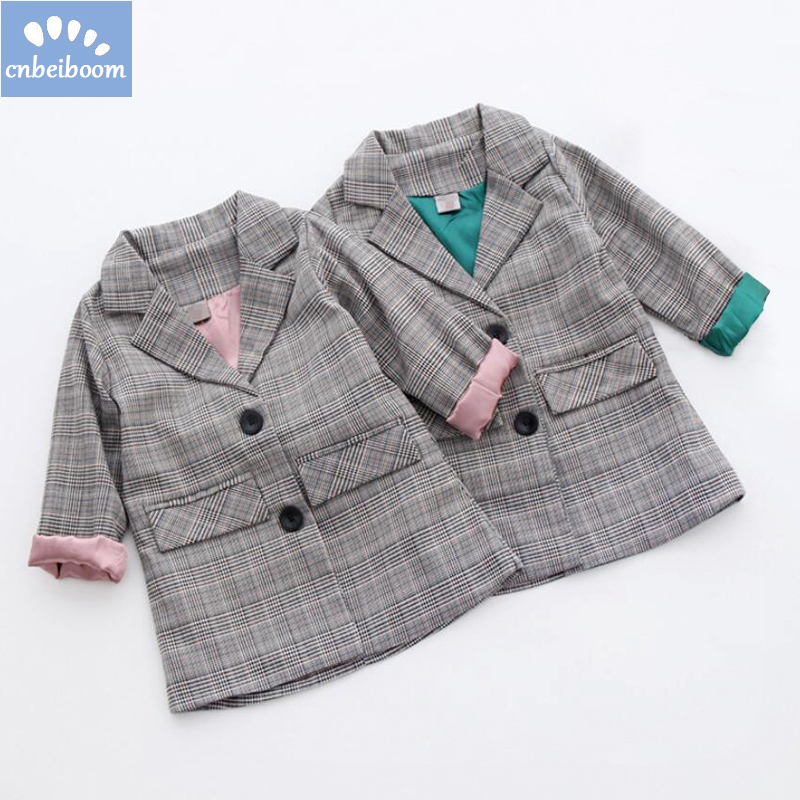 Spring/Autumn Kids Plaid Blazer Long Style Jacket Girls Jackets Clothes Children Outwear for Baby Girls Clothing Coats Costume