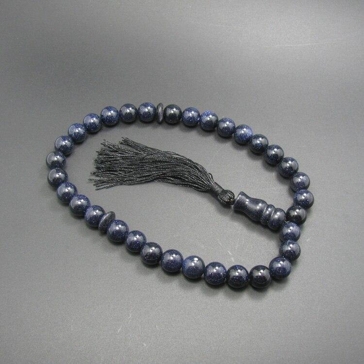 2016 nuevo diseño 33 azul Goldstone Islmic rosarios musulmanes Tasbih Allah Rosario Rosario incidido glidstone mano