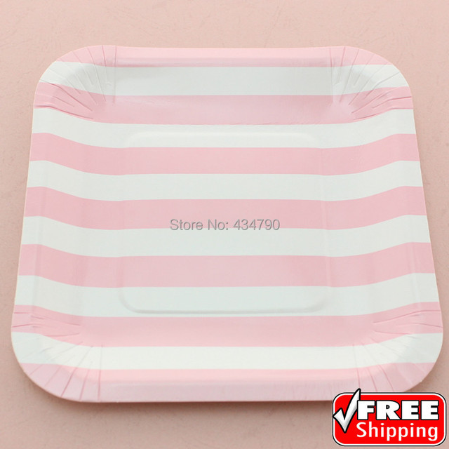 60pcs 7\  Square Discount Paper Plates Baby Pink StripeBirthday Wedding Bridal Baby Shower  sc 1 st  AliExpress.com & 60pcs 7\