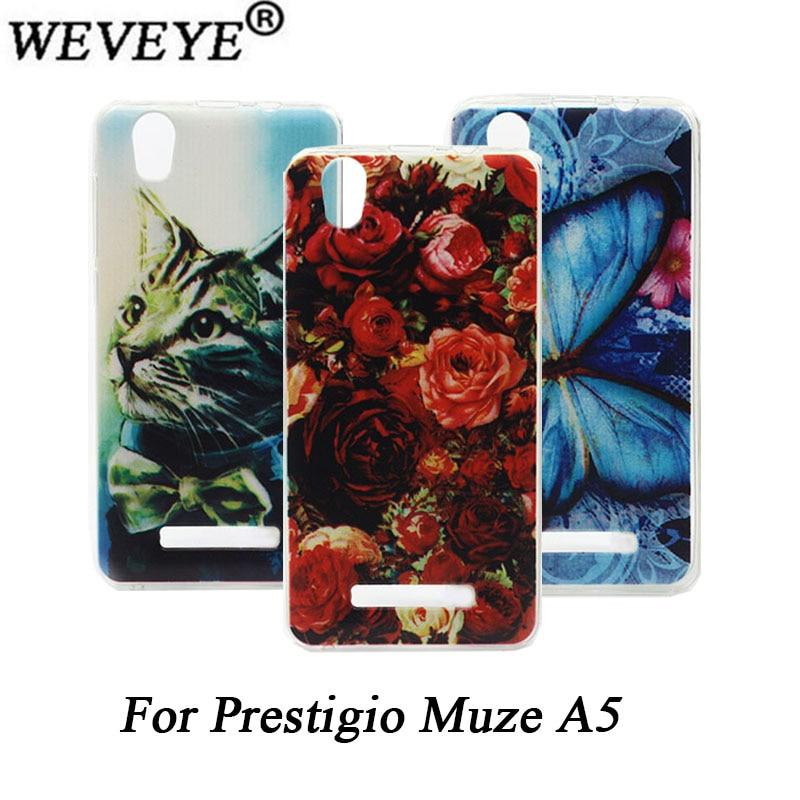 Prestigio Muze A5 PSP5502DUO հեռախոսի ներկով պատյան կատվի առյուծ վարդի ծաղիկների նախշերով SOFT TPU Կափարիչը Prestigio PSP 5502DUO- ի համար
