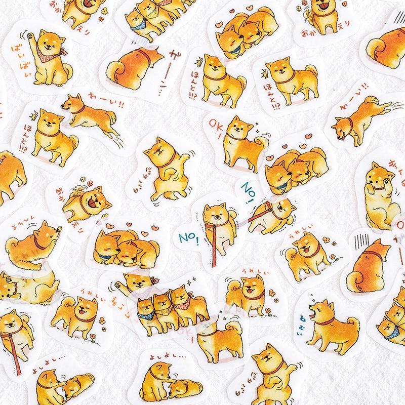 45pcs/Pack Cute Kawaii Dog Shiba Inu Decorative Washi Sticker Computer Decor School Student Stationery
