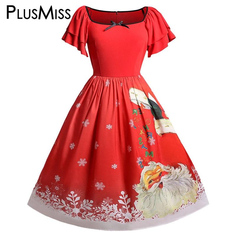 131f856663 PlusMiss Plus Size 5XL Vintage Retro Christmas Party Dresses Women Big Size  XXXXL XXXL XXL Ruffle Midi Santa Claus Printed Dress