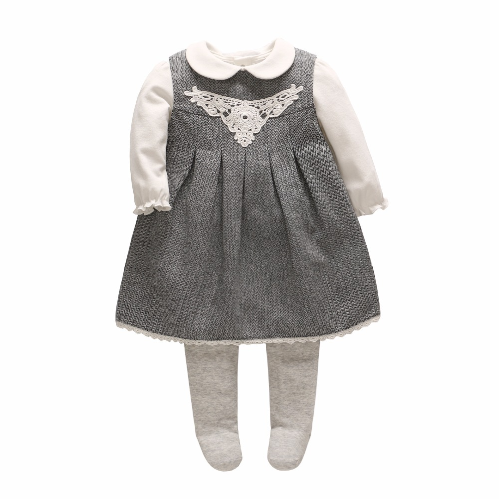 2018 Vlinder new baby sets 3pcs baby girl clothes Cute doll shirt+Pantyhose+ baby dress cotton full sleeves dress baby rompers 4932b17627b3