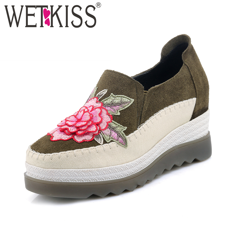 WETKISS New Arrival Wedges Women Pumps Cow Suede Square Toe Platform Footwear Embroider Fashion Spring Leisure Ladies Shoes new leisure wedges women summer spring lace up fashion footwear female shoes comfortable women pumps ladies casual shoes dt1481